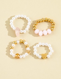 Fashion Main Picture Four-piece Pearl Love Rice Bead Beaded Ring