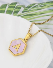 Fashion A Stainless Steel Hexagonal Pink Bottom 26 Letter Necklace