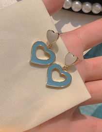 Fashion Gold Contrasting Color Hollow Heart Earrings
