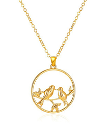 Fashion Gold Color Round Hollow Peace Dove Necklace