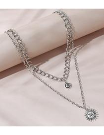 Fashion Silver Color Sun Moon Moon Star Alloy Double Necklace