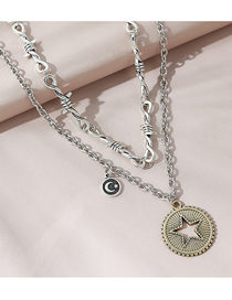 Fashion Silver Color Knotted Rope Round Five-pointed Star Double Necklace