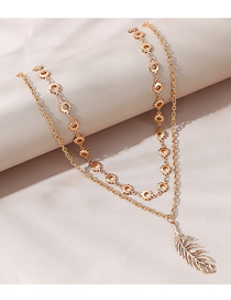 Fashion Gold Color Feather Round Alloy Double Necklace