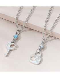 Fashion Silver Color Alloy Couple Necklace With Diamond Lock Shape Key