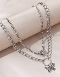 Fashion Silver Color Small Butterfly Love Alloy Geometric Double Necklace