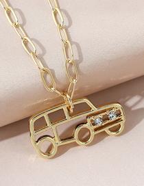 Fashion Gold Color Car Diamond Alloy Hollow Necklace