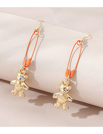 Fashion Gold Color Little Bear Pin Hit Color Alloy Earrings