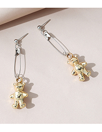 Fashion Gold Color Naughty Bear Pin Alloy Earrings