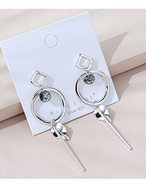Fashion Silver Real Gold Plated Austrian Crystal Round Long Earrings