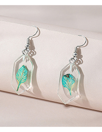 Fashion White Resin Geometric Leaf Earrings