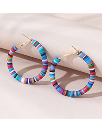 Fashion Color Mixing Suede Beaded Round Hollow Earrings