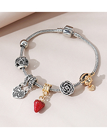 Fashion Silver Color Painted Oil Strawberry Flower Alloy Bracelet