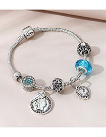 Fashion Silver Color Roman Head Diamond Geometric Bracelet