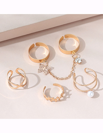 Fashion Golden Butterfly Chain Ring Set