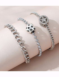 Fashion Silver Love Chain Five-pointed Star Bracelet Set
