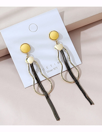 Fashion Golden Real Gold-plated Tassel Frosted Earrings