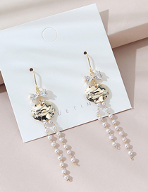 Fashion Golden Real Gold Plated Long Pearl Earrings