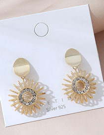 Fashion Golden Real Gold Plated Sun Earrings