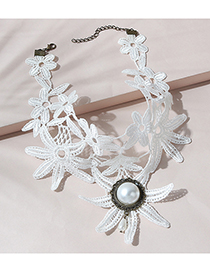 Fashion White Pearl Lace Necklace