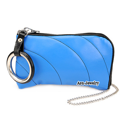 Charming Blue Simple Design PU Messenger bags