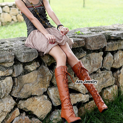 Uniqe Brown Lace Up Rivet High Heel PU Boots