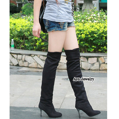Wishbone Black Over The Knee Thigh Velvet Boots