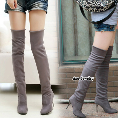 Doggie Gray Over The Knee Thigh Velvet Boots
