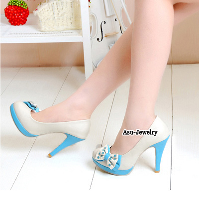 Tory Blue Lovely Bow Tie High Heel PU Pumps