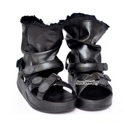Stronglite Black Simple Design Leather Sandals