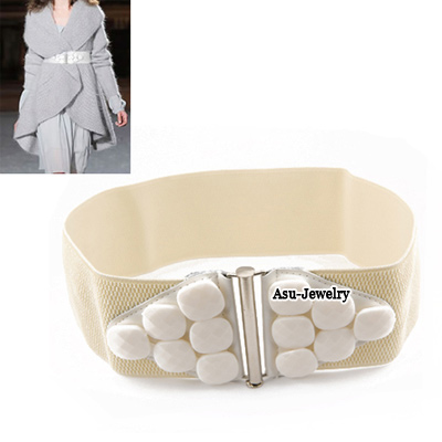 Gored White Large Stones Elastic Waistband Resin Wide belts