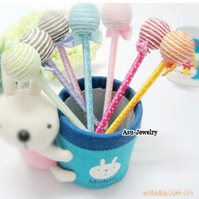 Dickie Color will be random Lollipop Shape  Design Plastic Writing Pens