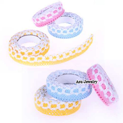 Bodybuildi Color will be random Countryside Lace Desing Cloth Stickers Tape