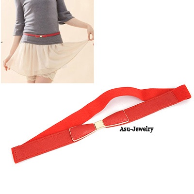 Real Red Candy Color Bow Tie PU Wide belts