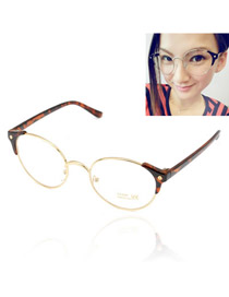 Simple With Leopard Frame Round Shape Frame  Design Resin Sunglasses