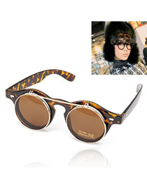 Affordable With Leopard Frame Double Layer Lens Design Resin Sunglasses