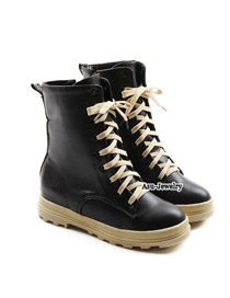 Roller Black The Higher Front Lacing Design PU Boots