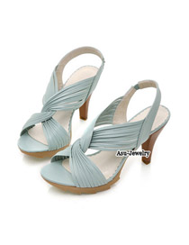 Stretch Blue Twisting Flower  Design PU Sandals