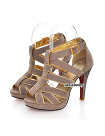 Direct Apricot Matching Cross  Design PU Sandals