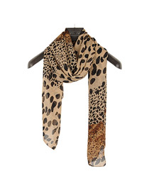Reversible Brown Multi Size Leopard Pattern Chiffon Thin Scaves