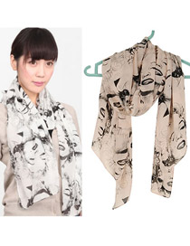 Native Khaki Elegant People Pattern Chiffon Thin Scaves