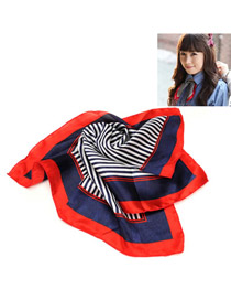 Royal Red Stripe Pattern Square Shape Voile Fashion Scarves