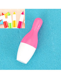 Recycled Pink Flexible Bowling Shape Design Plastic Writing Pens