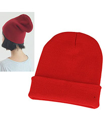 Polaris Red Simple Knitting Wool Fashion Hats