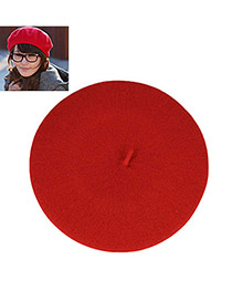 Plussize Red Flatcap Beret Hat Knitting Wool Beanies Others