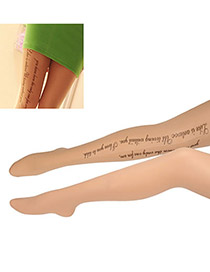 High Quali Fleshcolor Word Pattern  Design Yarn Tattoo Stockings