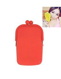 Korean sweet fashion candy color silicon wallet cell phone bag(Red)
