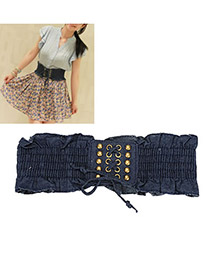 Synthetic Dark Blue Girdle Alloy Wide belts