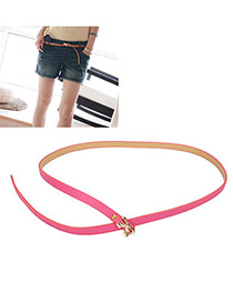 Retro Plum Red Bow PU Thin belts