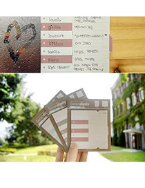 Sheer Coffee Fashion Word Memory Card Design Paper Scratch Pad Sticky