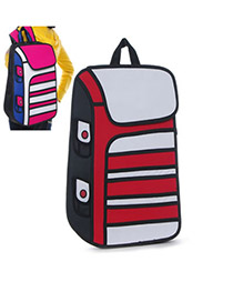 Executive Red Stereoscopic Effect Design PVC Backpack